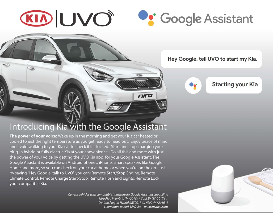 Kia Motors America Introduces Google Assistant Into the Award-Winning UVO Infotainment System