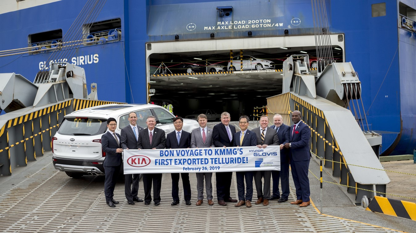 The first Kia Telluride to be exported via the Port of Brunswick is driven onto the Glovis vessel Sirius Feb. 26, 2019, at Colonel's Island Terminal, Ga. Kia Motors Manufacturing Georgia plans to ship approximately 3,000 Tellurides per year to global markets. Find print quality images here.  (Georgia Ports Authority / Stephen B. Morton)