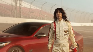 The all-new 2018 Kia Stinger GT's twin-turbo, 365-horsepower engine is put to use – in reverse – sending Steven Tyler on a transformative journey back to the seventies.